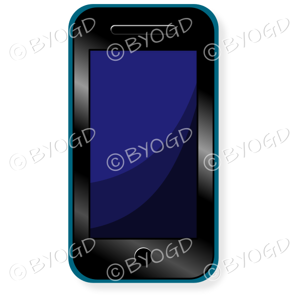 Smart phone with blue screen and blue case