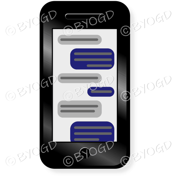 Smart phone with text message and black case