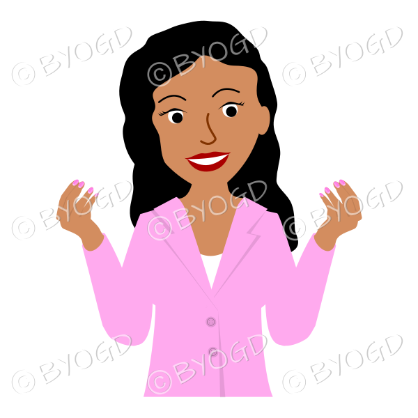 Girl in pink jacket with long black hair both hands raised