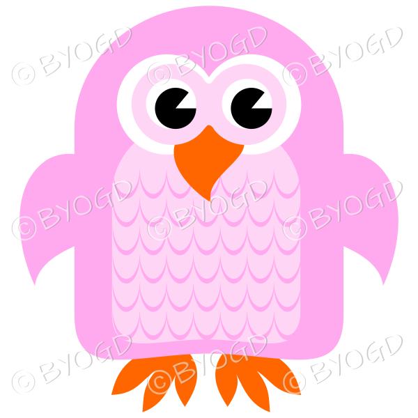 Pink owl with eyes open