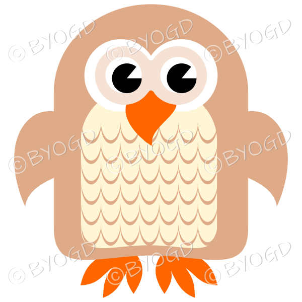 Brown owl with eyes open