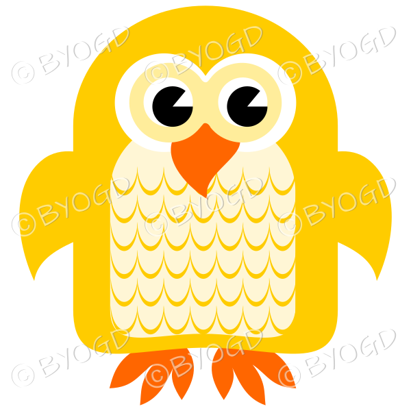 Yellow owl with eyes open