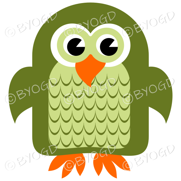 Green owl with eyes open