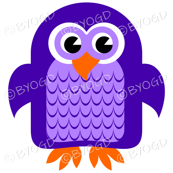 Purple owl with eyes open