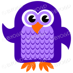 Purple owl with eyes open and wing lifted to wave