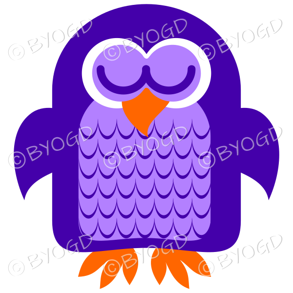 Purple owl asleep with his eyes closed