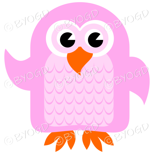 Pink owl with eyes open and wing lifted to wave