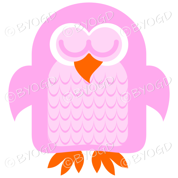 Pink owl asleep with his eyes closed