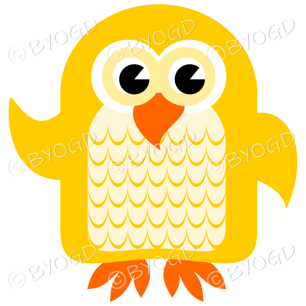 Yellow owl with eyes open and wing lifted to wave