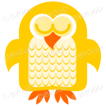 Yellow owl asleep with his eyes closed