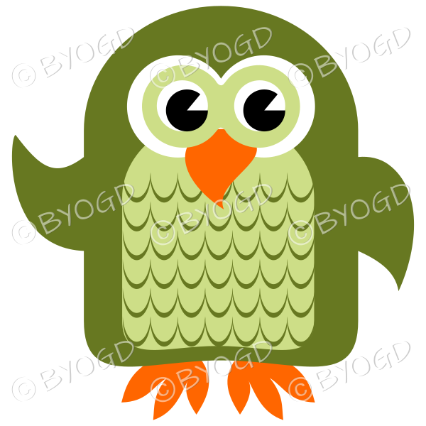 Green owl with eyes open and wing lifted to wave
