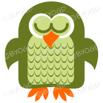 Green owl asleep with his eyes closed