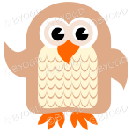 Brown owl with eyes open and wing lifted to wave