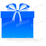 Blue gift or present in a square box with ribbons.