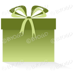 Green gift or present in a square box with ribbons.