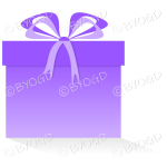 Purple gift or present in a square box with ribbons.