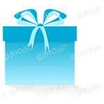 Light blue gift or present in a square box with ribbons.