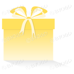 Yellow gift or present in a square box with ribbons.