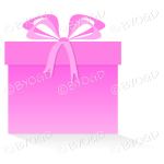 Pink gift or present in a square box with ribbons.