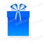 Blue gift or present in a tall box with ribbons.