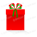Red gift or present in a tall box with ribbons.