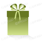 Green gift or present in a tall box with ribbons.