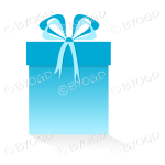 Light blue gift or present in a tall box with ribbons.