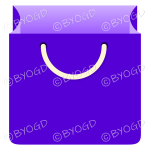 Purple grocery bag for shopping at your store.