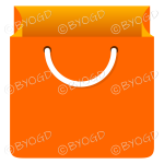 Orange grocery bag for shopping at your store.