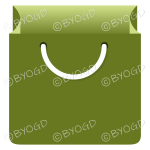 Green grocery bag for shopping at your store.