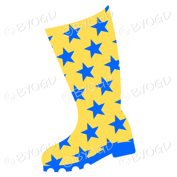 Yellow and blue wellington boots for splashing in puddles