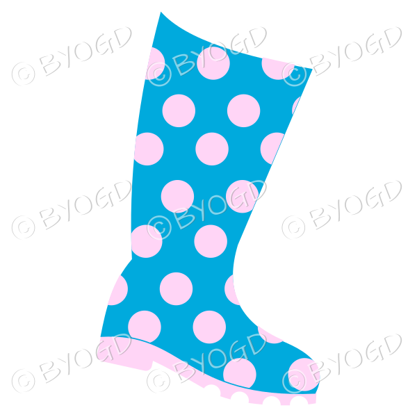 Blue and pink wellington boot for splashing in puddles