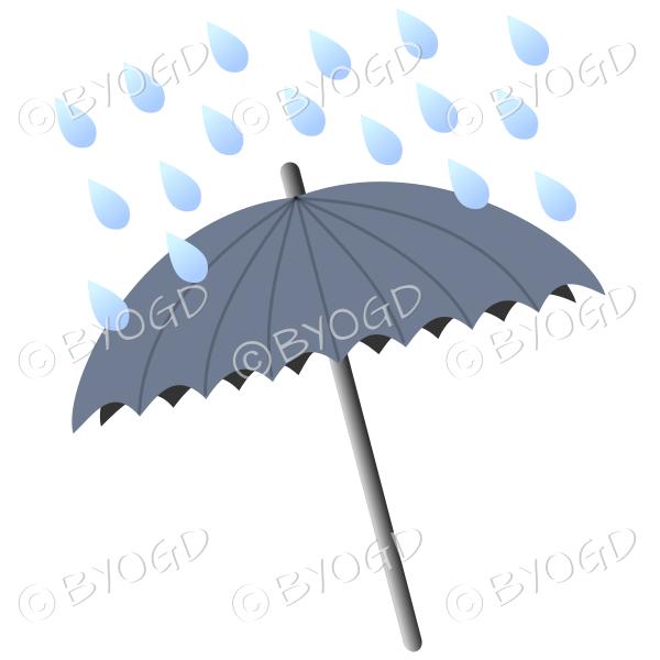 Grey umbrella with raindrops