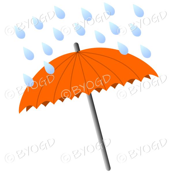 Orange umbrella with raindrops