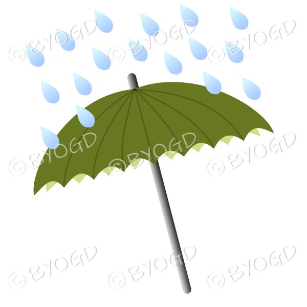 Green umbrella with raindrops