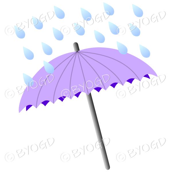 Purple umbrella with raindrops