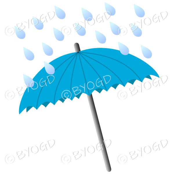 Light Blue umbrella with raindrops