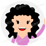 Headshot of shoulder length black curly haired female waving set in a circle wearing a pink top
