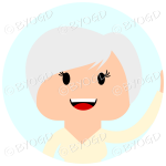 Headshot of silver (grey) short haired female waving set in a circle