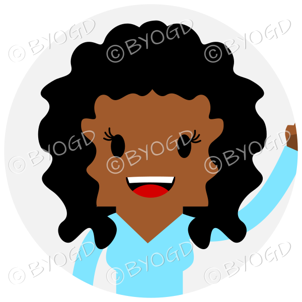 Headshot of curly long black haired female waving set in a circle wearing a blue top
