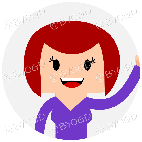 Headshot of medium length bob cut mid brown haired female waving set in a circle wearing a purple top
