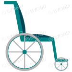 Empty light blue wheelchair