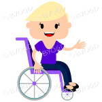 Girl with short blonde hair in a wheelchair. Smiling and one hand stretched out in greeting, sitting in a purple wheelchair and wearing a purple top.