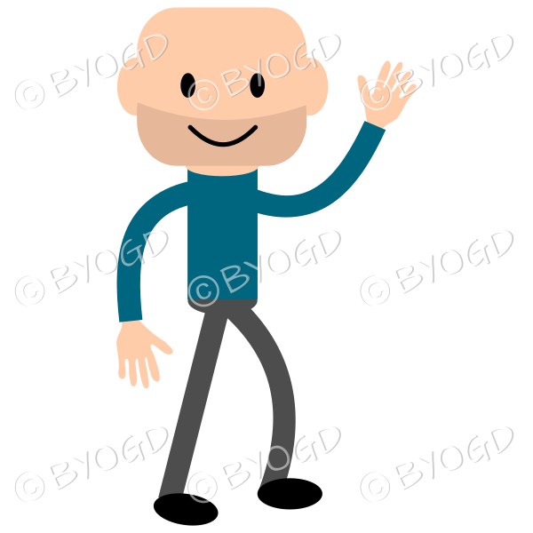 Young bald guy wearing a long sleeved blue top and waving