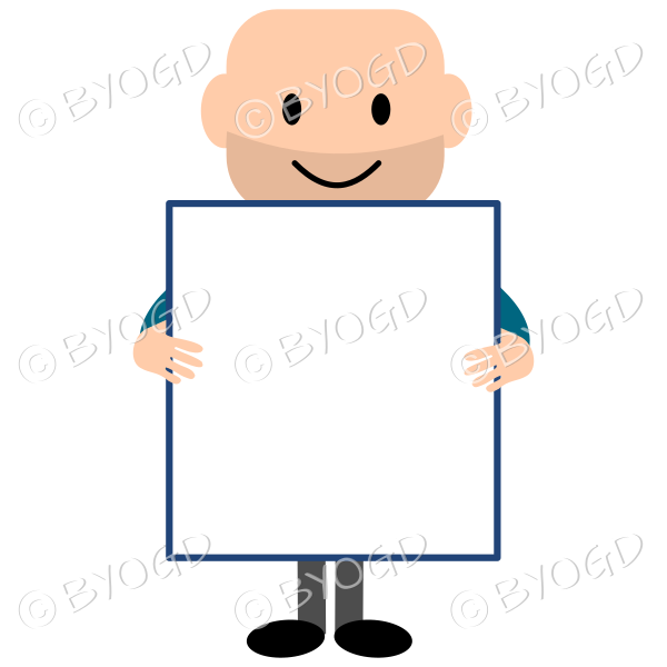 Young bald guy holding a large blank square board