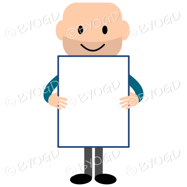 Young bald guy wearing a long sleeved blue top and holding a blank rectangular board
