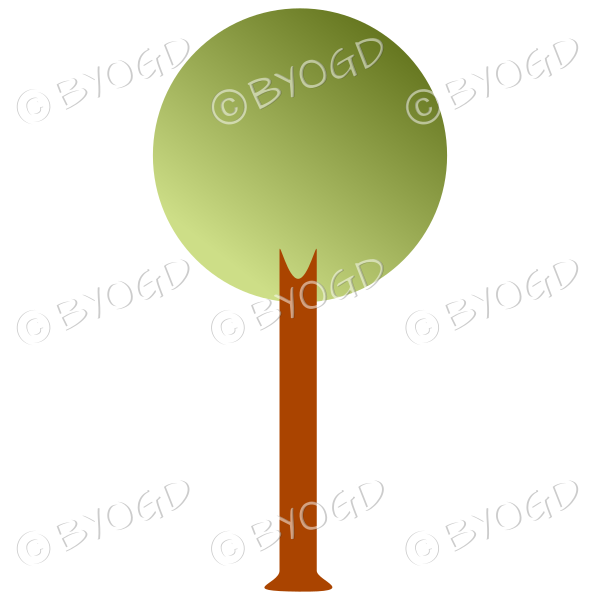 Round tree - graduated light to dark