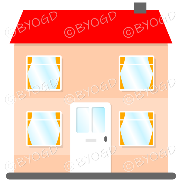 Front view two-storey house with red roof, white door and orange curtains