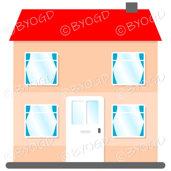 Front view two-storey house with red roof, white door and blue curtains