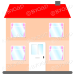 Front view two-storey house with red roof, white door and pink curtains